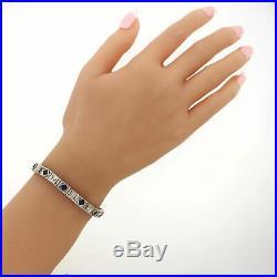 1930's Antique Art Deco 14k White Gold 2.8ctw Sapphire & Diamond Bracelet