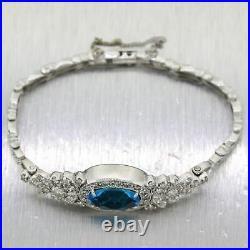 1930's Antique Art Deco 14k White Gold 4.55ctw Blue Topaz & Diamond Bracelet