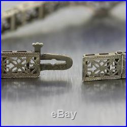 1930's Antique Art Deco 14k White Gold Diamond & Onyx Filigree Bracelet