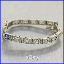 1930's Antique Art Deco 14k White Gold Filigree Sapphire & Diamond Bracelet