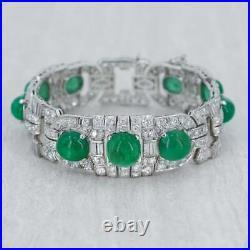 1930's Vintage Art Deco Cubic Zirconia and 44.19ct Emerald Cab Panel Bracelet