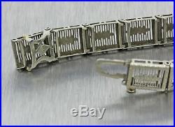1930s Antique Art Deco 10k Solid White Gold Sapphire Diamond Filigree Bracelet