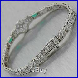 1930s Antique Art Deco 14k White Gold Filigree. 05ctw Diamond Syn. Emerald Brace
