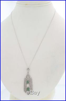 1930s Antique Art Deco 14k White Gold Filigree Diamond Emerald Pendant Necklace