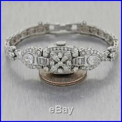 1930s Antique Art Deco 4ctw Diamond Watch Bracelet