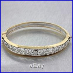 1930s Antique Art Deco Estate 14k Multi-Gold. 85ctw Diamond Bangle Bracelet