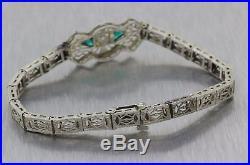 1930s Antique Art Deco Estate 14k White Gold. 25ctw Diamond Emerald Bracelet E8