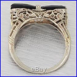 1930s Antique Art Deco Estate 14k White Gold Filigree Black Onyx Bow Tie Ring F8