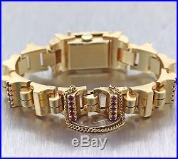 1930s Antique Art Deco Marvel 14k Yellow Gold 3ctw Diamond Ruby Bracelet Watch C