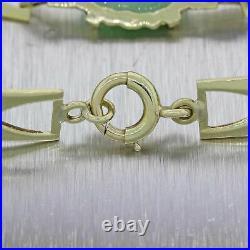 1930s Antique Art Deco Solid 14k Yellow Gold Carved Jade 5mm Bracelet