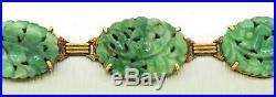 1930s Antique Art Deco Solid 14k Yellow Gold Carved Jade Floral Bracelet