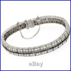 1930s Antique Art Deco Solid Platinum 5.76ctw Diamond Sapphire Tennis Bracelet
