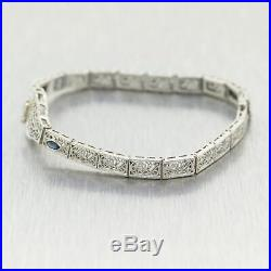 1930s Art Deco 14k White Gold Marquise Diamond & Sapphire Filigree Bracelet