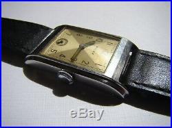 1930s VINTAGE ROLEX S/S PRINCE ELEGANT RECTANGULAR ART DECO MENS WATCH