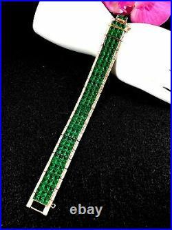 1950 Crown Trifari Invisibly Set Emerald Crystal Rhinestone Art Deco Bracelet