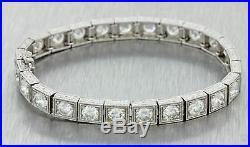 1950s Antique Art Deco Style Platinum 8.25ct Diamond 6mm Wide Tennis Bracelet
