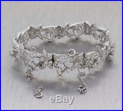 1950s Vintage Art Deco 14k White Gold 8.50ctw Diamond Floral Link Bracelet G8