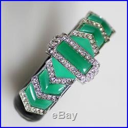 1967 KJL Art Deco Bracelet, Blk Enamel Rhinestones withEmerald Cabochons Vintage