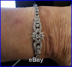 1.50 Ctw Diamond Bracelet KEER & KINGSLAND 14K White Gold 7in 12.1Grams Art Deco