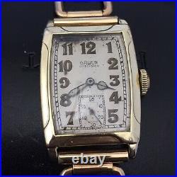 1st-Run GRUEN QUADRON Model 77 Solid Gold Gentlemans Art Deco Watch