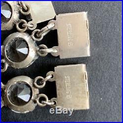 20s Art Deco Sterling Rock Crystal Bezel Necklace + Bracelet /Necklace Extension
