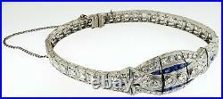 $25,000 Antique 1920s Art Deco Platinum 5 1/2ctw Diamonds+SapphiresBraceletWOW