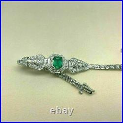 2.91 Carats t. W. Art Deco Emerald and Diamond Tennis Bracelet 14K White Gold