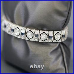 3.71ctw Art Deco Diamond and Sapphire Bracelet in 18k White Gold