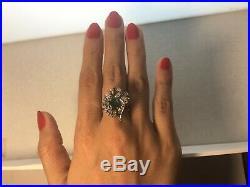 40s VINTAGE ART DECO ANTIQUE EMERALD & DIAMONDS FILIGREE PALLADIUM RING