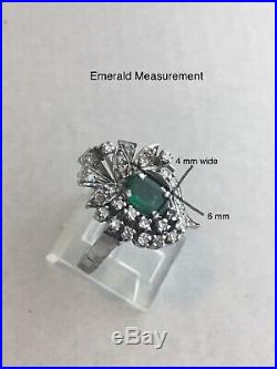 40s VINTAGE ART DECO ANTIQUE EMERALD & DIAMOND FILIGREE PALLADIUM RING