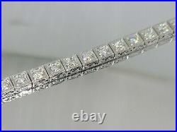 5 Carat Diamond Tennis Bracelet Art Deco Look New 14K White Gold 5mm Wide