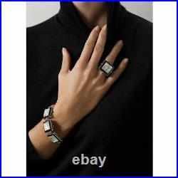 $675 Lalique Crystal ARETHUSE Bangle Masque De Femme Silver Bracelet Black New