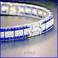 6 0 CT Round Cut Diamond Sapphire Solid 14k White Gold Tennis Art Deco Bracelet