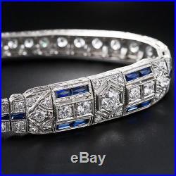 6.50 Ct Vintage Art Deco White Round Diamond 925 Silver Women's Bracelet 7