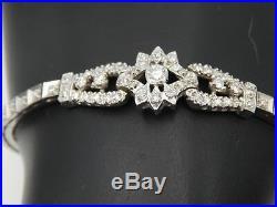 71 tcw ART DECO Diamond Bracelet G-H/SI1-2 14k White Gold Stunning Estate