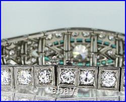 7.00 CT Rare Vintage Platinum Art Deco Natural Diamond Emerald Antique Bracelet