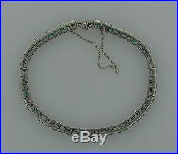 8.50 carats EMERALD PLATINUM TENNIS BRACELET Art Deco 1920s Elegant Timeless