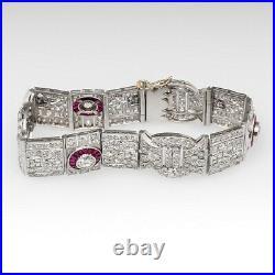925 Sterling Silver Antique Art Deco Vintage Style Ruby Halo Bracelet For Women