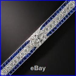 9.0 CT Round Cut Diamond Sapphire Solid 14k White Gold Tennis Art Deco Bracelet