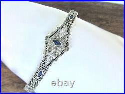 ANTIQUE 1920's Art Deco 14K White Gold Diamond Sapphire Filigree Bracelet