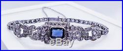 ANTIQUE 6 CT Diamond Natural Sapphire PLATINUM Art Deco Nouveau Bracelet Ornate
