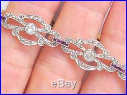 ANTIQUE ART DECO 1ctw EURO & ROSE DIAMOND. 36 ctw RUBY COCKTAIL BRACELET 1920