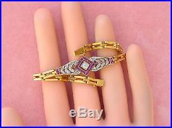 ANTIQUE ART DECO. 25ctw DIAMOND. 60ctw RUBY PLATINUM 18K 7 LINK BRACELET 1920