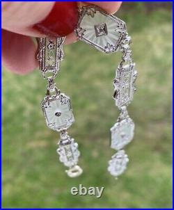 ANTIQUE ART DECO CAMPHOR GLASS DIAMOND 14K WHITE GOLD FILIGREE BRACELET 7 10mm