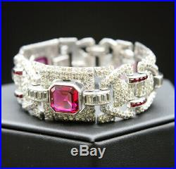 ANTIQUE ART DECO KTF or BOUCHER FACETED GLASS RUBY and PAVE LINK BRACELET