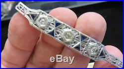 ART DECO18K White Gold FiligreeLady's Diamond & Sapphire BraceletEstateWOW