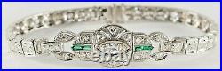ART DECO 2Ct. PLATINUM DIAMOND BRACELET w EMERALDS ORIGINAL C1920