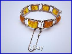 ART DECO Bernstein Armband Fischland 835 Silber, vintage Schmuck amber bracelet