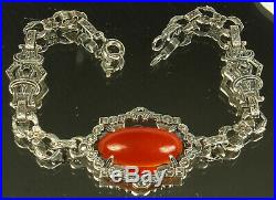 ART DECO CARNELIAN Bracelet 1920s STERLING Silver Cab Gemstone & MARCASITES Fab