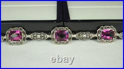 ART DECO Flexible Bracelet 1930s STERLING Filigree AMETHYST Crystals 7-3/8 FAB
